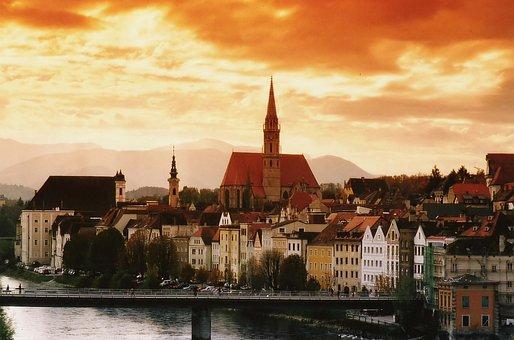 Steyr, Austria, City, Sunset, Clouds, Enns, River
