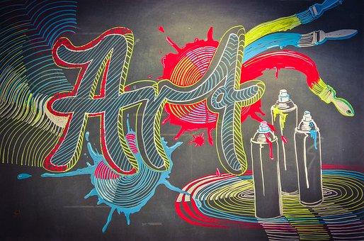 Art, Blackboard, Chalk, Graffiti