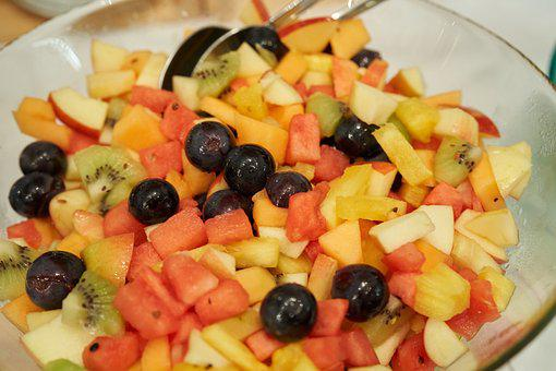Fruit Salad, Dessert, Grapes, Melon, Pineapple, Kiwi