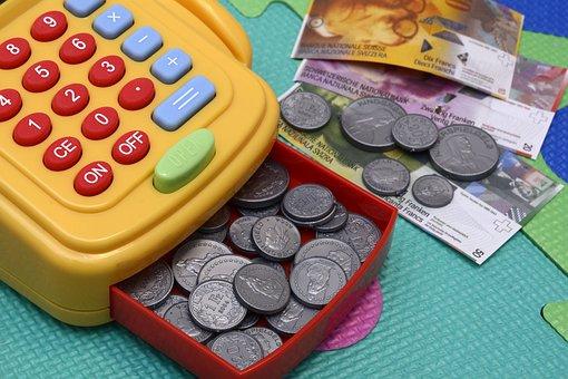 Toy Cash Register, Play, Money, Plastic, Keys, Pay