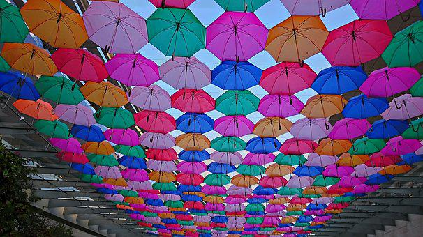 Sunshade, Summer, Colors, Spring, Umbrella, Plaza