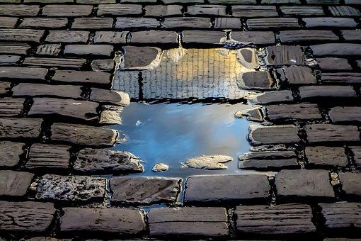 Reflection, Brick Road, Rain, Fence, Freedom, Border
