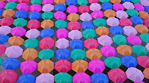 Sunshade, Umbrella, Color, Colors, Plaza, Environment