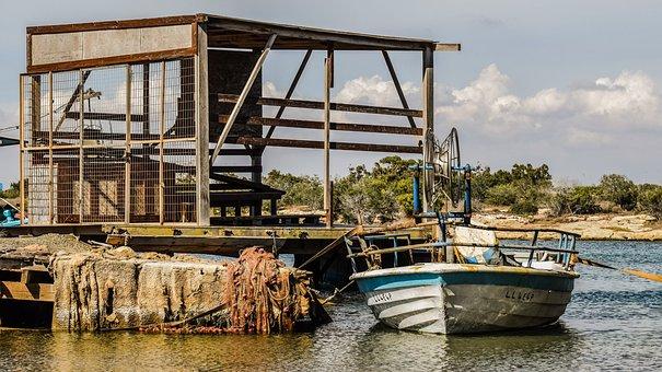 Fishing Boat, Traditional, Decay, Dock, Nets, Sea