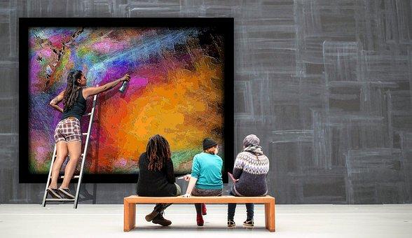 Gallery, Art, Artist, Abstract Art, Viewers, Spray