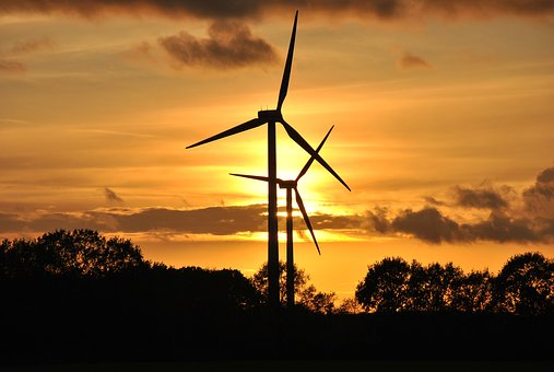 Windmill, Sunset, Energy, Electricity, Sky, Wind