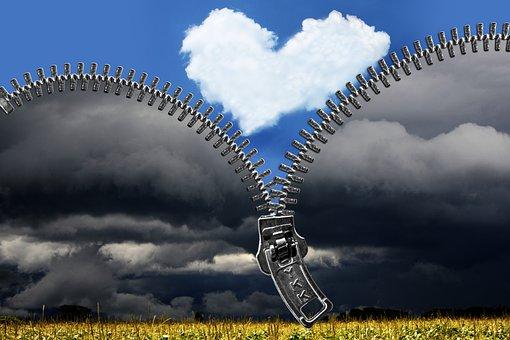 Zipper, Heart, Clouds, Sky, Weather, Positive, Feelings
