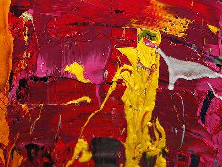 Ink, Abstract, Color, Reds, Yellow, Pink, White