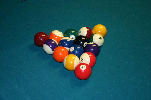 Pool, Balls, Table, 8 Ball, Game, Cue, Stick, Green