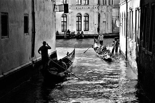 Venice, Italy, Channel, Gondolas, Gondoljärer, Gondola