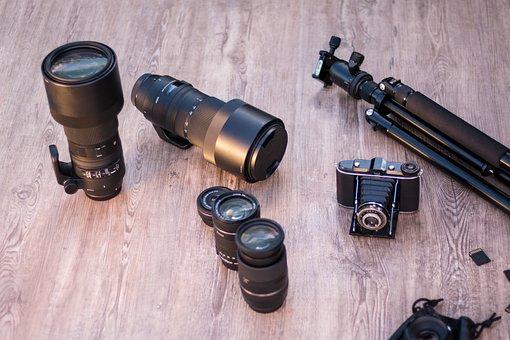 Lenses, Tripod, Analog Camera, Pop-up Camera