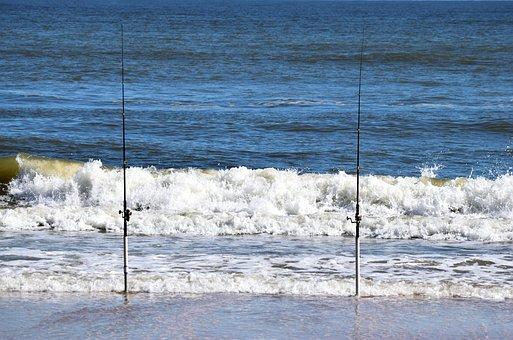 Surf, Fishing Poles, Ocean, Beach, Waves, Nobody