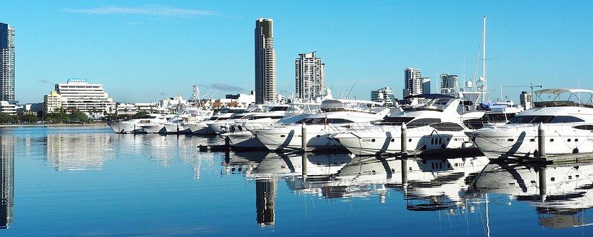 Gold Coast, Australia, Sea, Reflections, Boats