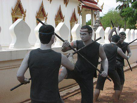 Statue, Bang Kung Camp, Fighting, Chinese