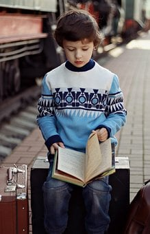 Boy, Book, Train, Sweater, Kid, Kids, Child