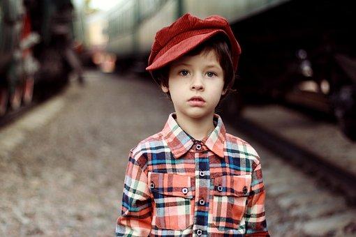 Cap, Boy, Shirt, Train, Station, Portrait, Beautiful