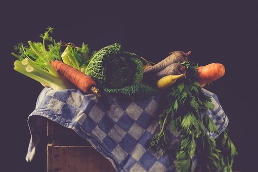 Vegetables, Still Life, Forget, Vintage, Dishcloth