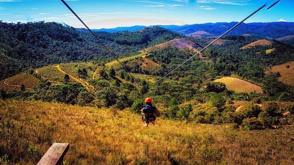 Zipline, Mountain, Hill, Forest, Adventure, Adrenaline