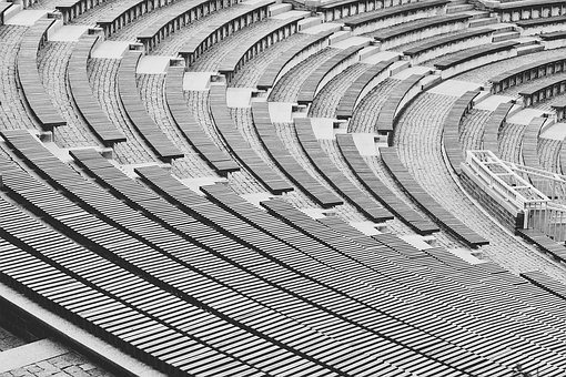 City, Architecture, Amphitheater, Black And White