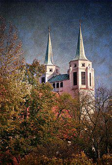 Church, Towers, Picture, Graphics, Sharp, Autumn
