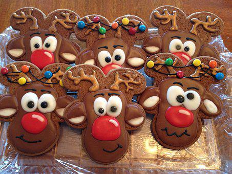 Reindeer, Sugar Cookie, Decorated, Icing, Cookie
