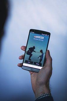 Android, App, Deezer, G3, Hand, Holding, Lg, Man, Music