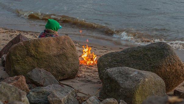 Fire, Beach, Elbe, Heat, Campfire, Barbecue, Hot, Burn