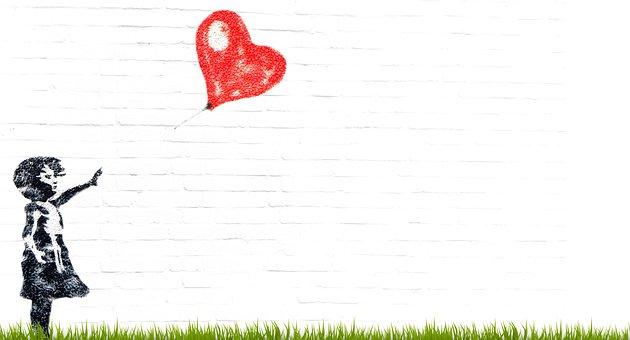 Girl, Balloon, Composing, Child, Heart, Innocent, Love