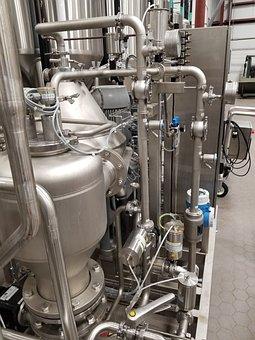 Brewery, Industry, Pipes, Tanks, Aluminum, Metal