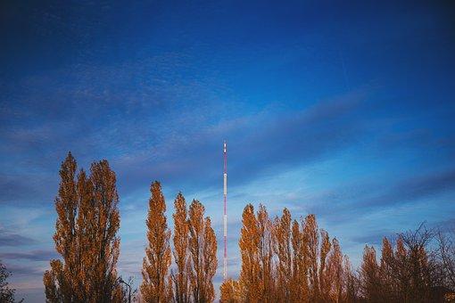 City, Architecture, Blue, Clouds, Fm, Mast, Olsztyn