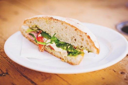 Food, Drinks, Bread, Breakfast, Ham, Loaf, Plate, Roll