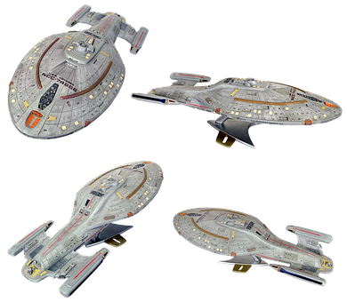 Space Ship Model, Star Trek, Uss Voyager, Isolated
