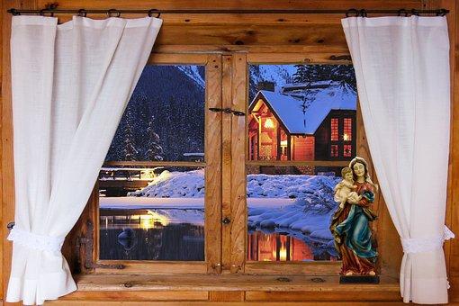 Architecture, Window, Outlook, Curtain, Wooden Windows