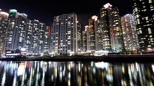 Korea, Haeundae Beach, Busan, Night View, Bathing Beach