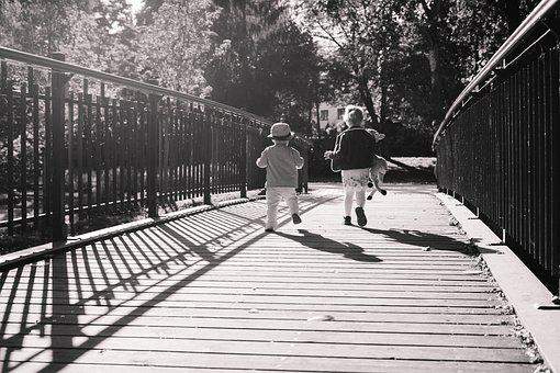 People, Autumn, Boy, Bridge, Brother, Carefree