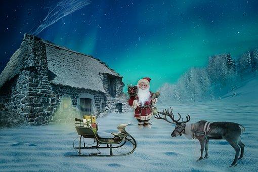 Christmas, Christmas Motif, Santa Claus, House