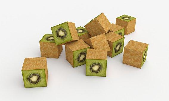 Kiwi, Cubes Kiwi, Fruit, Citrus, Vitamins, Food