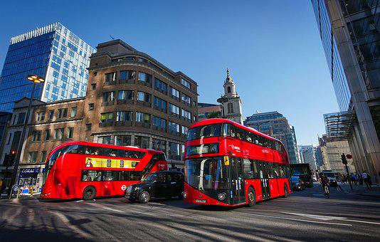 London, Bus, Red, Junction, Downtown, Street Scene