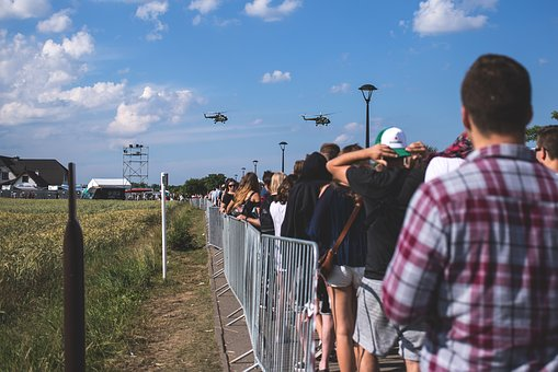 People, Control, Crowd, Fence, Festival, Field, Fly