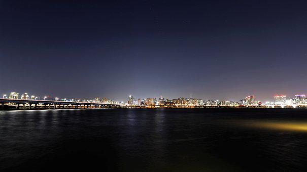 Han River, Night View, For, Korea, Seoul