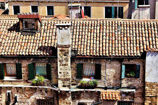 Rooftops, Venice, Tile, Buildings, Stone-built House