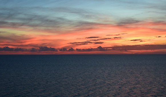 Sunset Over The Water, Travel, Gulf Of Mexico