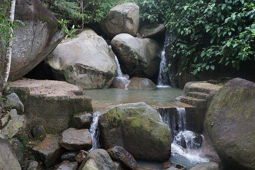 Waterfall, Upstream, Source, Clear Water