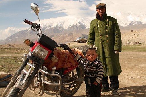 Motorcycle, Man, Boy, Child, Mountain, Snowcap, Rural