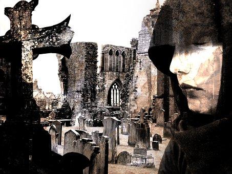 Mourning, Cemetery, Cross, Nun, Cape, Black, Ruin, Tomb