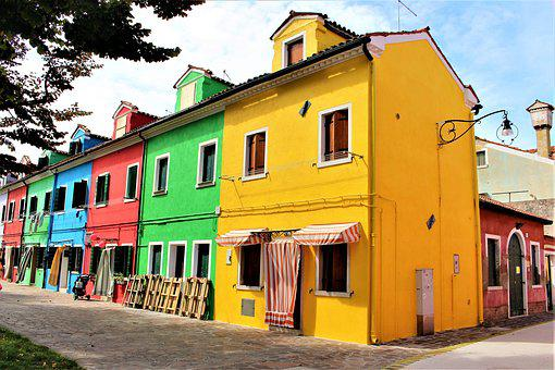 Venice, Burano, Buildings, Colourful, Italy