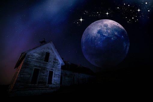 Moonlight, Night, Home, Moon, Full Moon, Darkness, Sky