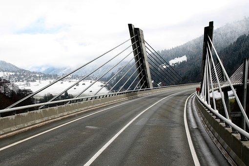 Bridge, High, Asphalt, Wet, Highway, Scenery, Cloudy