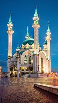 Russia, Kazan, The Kremlin, Mosque, Evening, Lighting