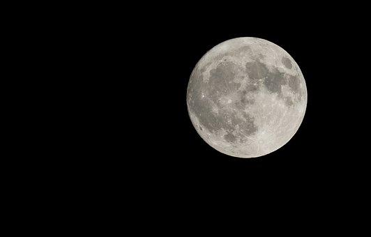 Full Moon, Close, Night, Dark, Moon, Moon Craters